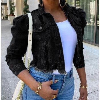 New Ladies Frayed Denim Gacket Short Style Puff Sleeve Denim Jacket Black Clothes For Women Fashion Woman's Clothing 2020