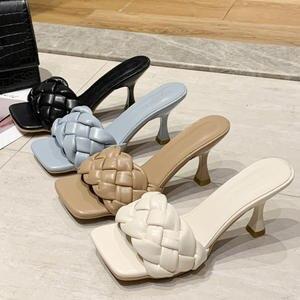 Мюли женские на каблуке 7 см, Роскошные туфли-лодочки, индивидуальная плетеная обувь для отдыха, офиса, тапки для выпускного вечера, синие