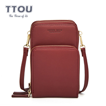 TTOU Fashion Women Small Cell Phone Bags Messenger Bag Travel PU Leather Card Holder Wallet Female Solid Crossbody Popular
