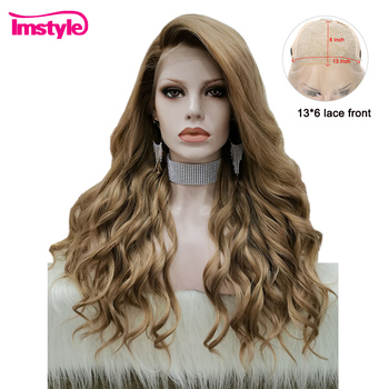 цена на Imstyle Lace Front Wigs For Women Brown Synthetic Lace Front Wig Heat Resistant Fiber Natural Hairline Wavy Wig Daily