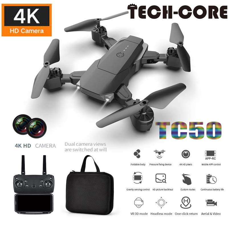 TECH-CORE TC50 Drone 4k HD Wide Angle Camera 1080P WiFi fpv Drone Dual Camera Quadcopter Height Keep Drone Camera Children Gift image
