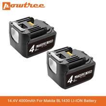 Batterie Lithium-Ion Rechargeable, 14.4V, 4000mAh, pour remplacement de Makita BL1430, LXT200, BL1415, 194558-0, 194559-8, 194066-1