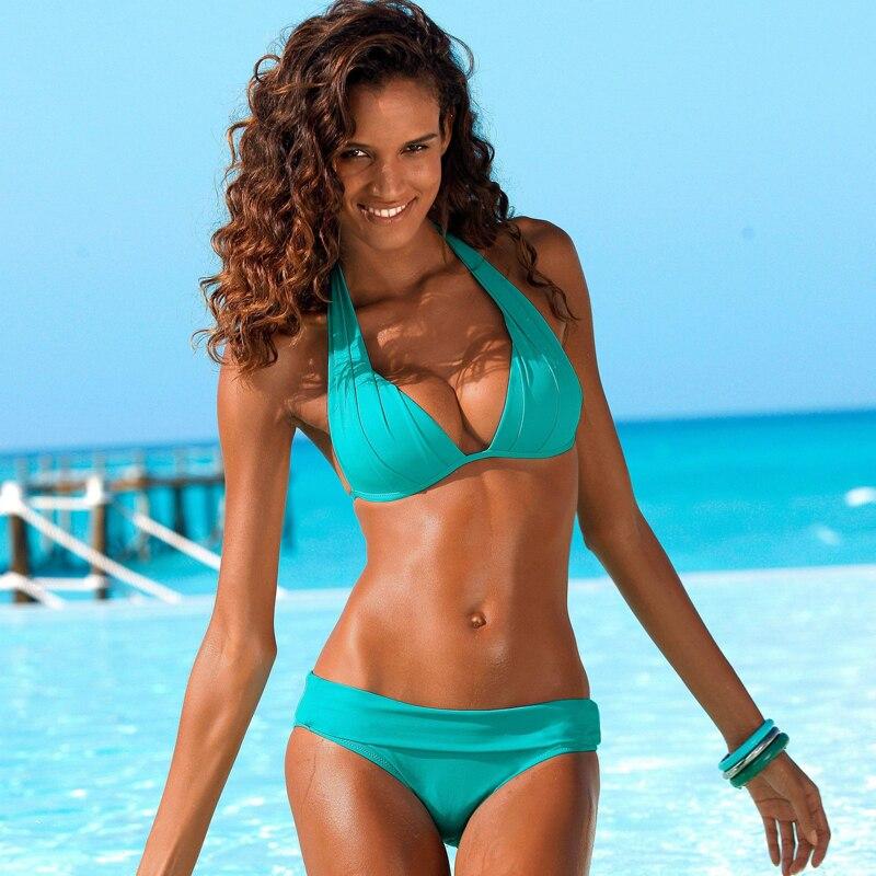 Push Up Bikini 2020 Two Piece Swimsuit Women High Waist Black Pink Bikini Set Plus Size Swimwear Beach Bathing Suits Bikinis 2XL|Bikini Set|   - AliExpress