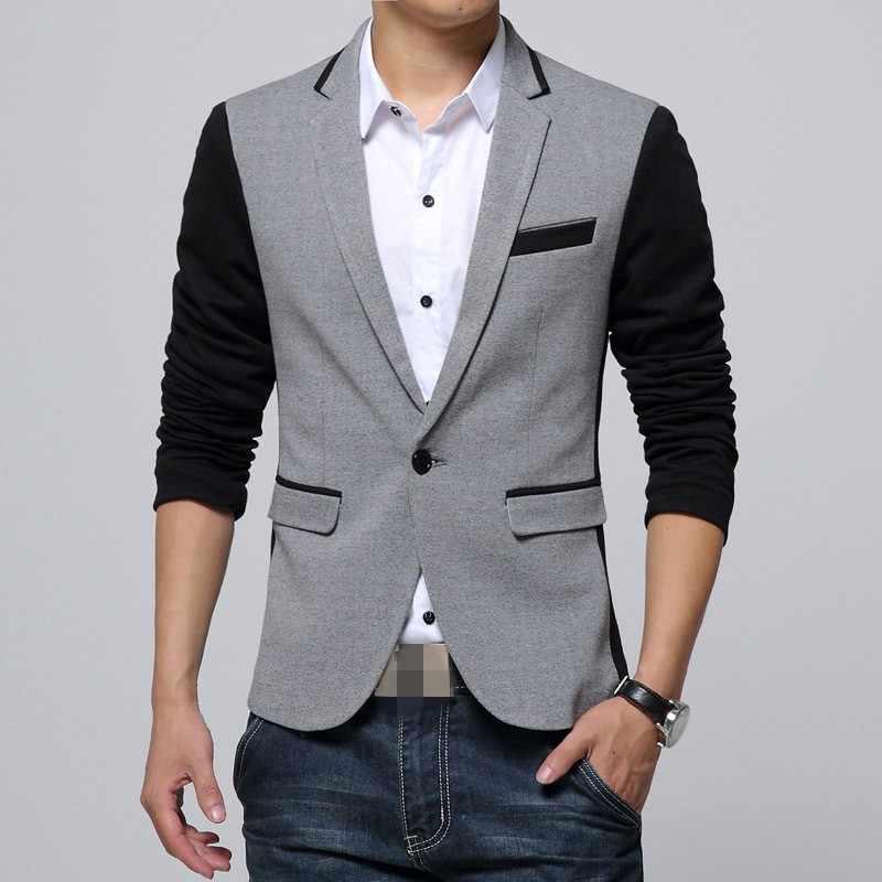 Kurtka jesienno-zimowa męska bluzki mieszane kolor Slim zapinany na jeden guzik Casual biznesowa marynarka Jaqueta kieszeń męskie płaszcze Plus rozmiar