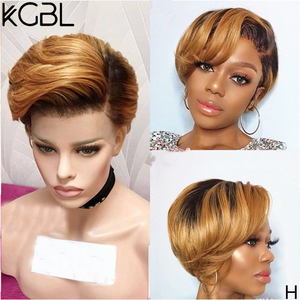 KGBL13*4 Ombre Pixie Short Wigs Lace Front Human Hair Wigs With Baby Hair Brazilian Non-Remy 8'' 150 180 Density Wig For Women(China)