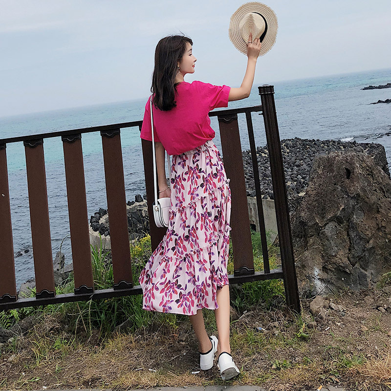 [Dowisi] WOMEN'S Suit 2018 New Style Crew Neck Tops High-waisted Floral-Print Skirt Two-Piece Women's F5049
