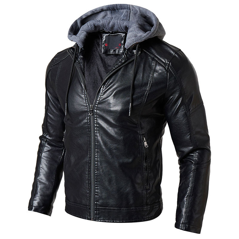 MEN'S WEAR 2018 Autumn And Winter MEN'S Leather Jacket New Style MEN'S Leather Clothing PU Leather Business Casual Hooded Leathe