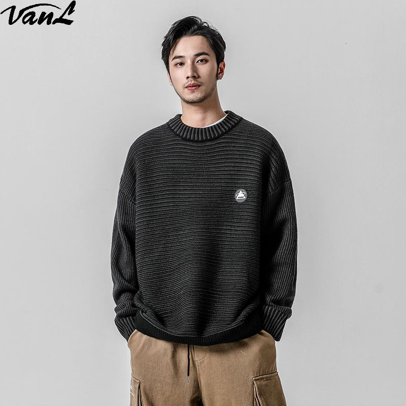 2019 Autumn New Chest Labeling Knit Men's Fashion Casual Loose Sweater Mens Sweaters  Fall Sweater