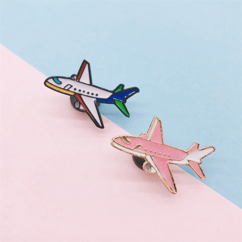 Creative Cartoon Vehicle Car Airplane Aircraft Enamel Brooch Blue Pink Alloy Badge Denim Clothes Bag Cute Jewelry Gift For Kid image
