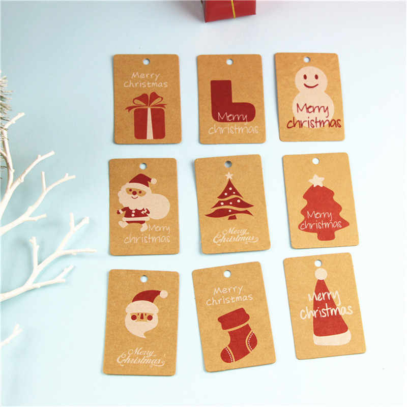 50Pcs טבעי חום קראפט נייר תגיות עם לאמנות DIY מחיר מטען תגי שם קישוט מתנת תג חג המולד עצים קישוט @ 3
