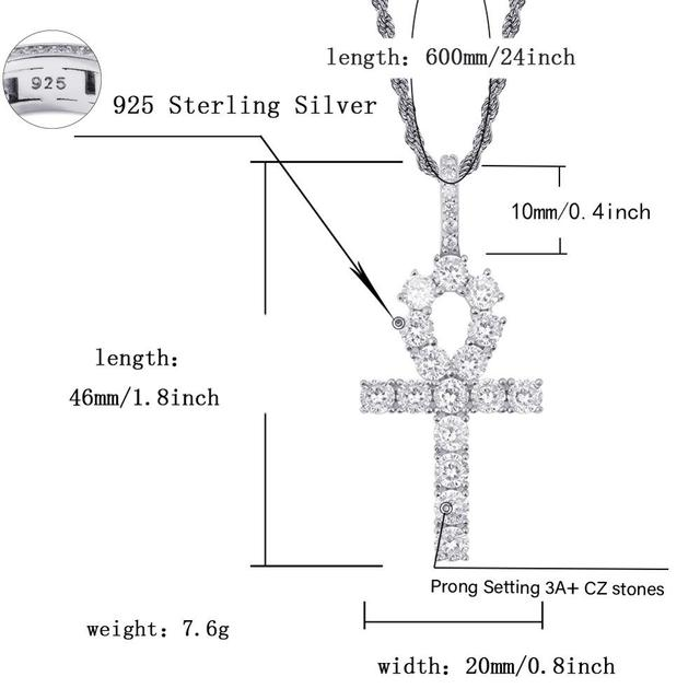 AAA CZ Stone Solid S925 Sterling Silver Bling Ice Out Ankh Cross Pendants Necklaces for men women Jewelry Hip Hop Rapper Gold