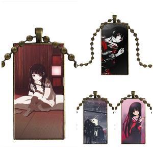 For Women Choker Glass Cabochon Jewelry Bronze Color With Long Pendant Choker Rectangle Necklace Anime Jigoku Shoujoanma Ai