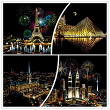 41*28cm City DIY Scratch Paintings  Home decor. Paper Paintings Art Crafts Scraping Christmas Gift Adult Kids decompression Toys