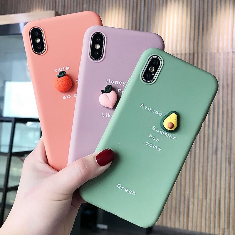 Милый чехол для телефона с 3D рисунком для iPhone 11 11 Pro Max XS Max XR X 8 7 6 6S Plus прекрасный фруктовый авокадо Мягкий Силиконовый противоударный чехол|Специальные чехлы|   - AliExpress