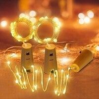 Yeni şarap şişesi mantarı ışık zinciri 200CM 20 LED peri işıklar parti düğün noel cadılar bayramı dekorasyon Bar şişe ışıkları