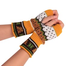 Damskie zimowe rękawiczki świąteczne dzianinowe rękawiczki bez palców zimowe Unisex miękkie ciepłe rękawiczki Outdoor Touch Screen rękawiczki do jazdy tanie tanio JAYCOSIN Kobiety Poliester Dla dorosłych Stałe Nadgarstek Moda gloves
