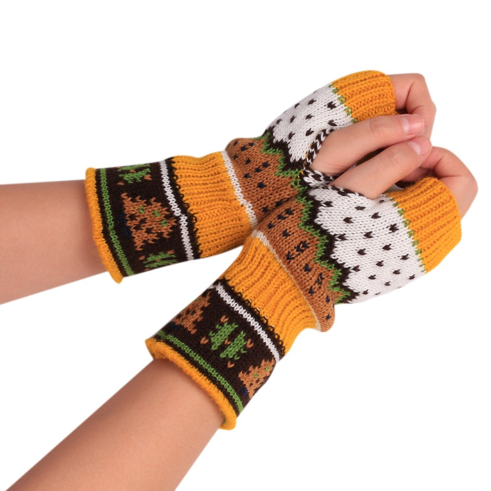 Women Winter Gloves Christmas Knitted Arm Fingerless Winter Gloves Unisex Soft Warm Mitten Outdoor Touch Screen Driving Gloves