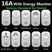 Tuya Wifi inteligentna wtyczka 16A ue brazylia gniazdo z zegarem miernik zużycia energii SmartLife APP sterowanie głosem praca dla Google Home Alexa