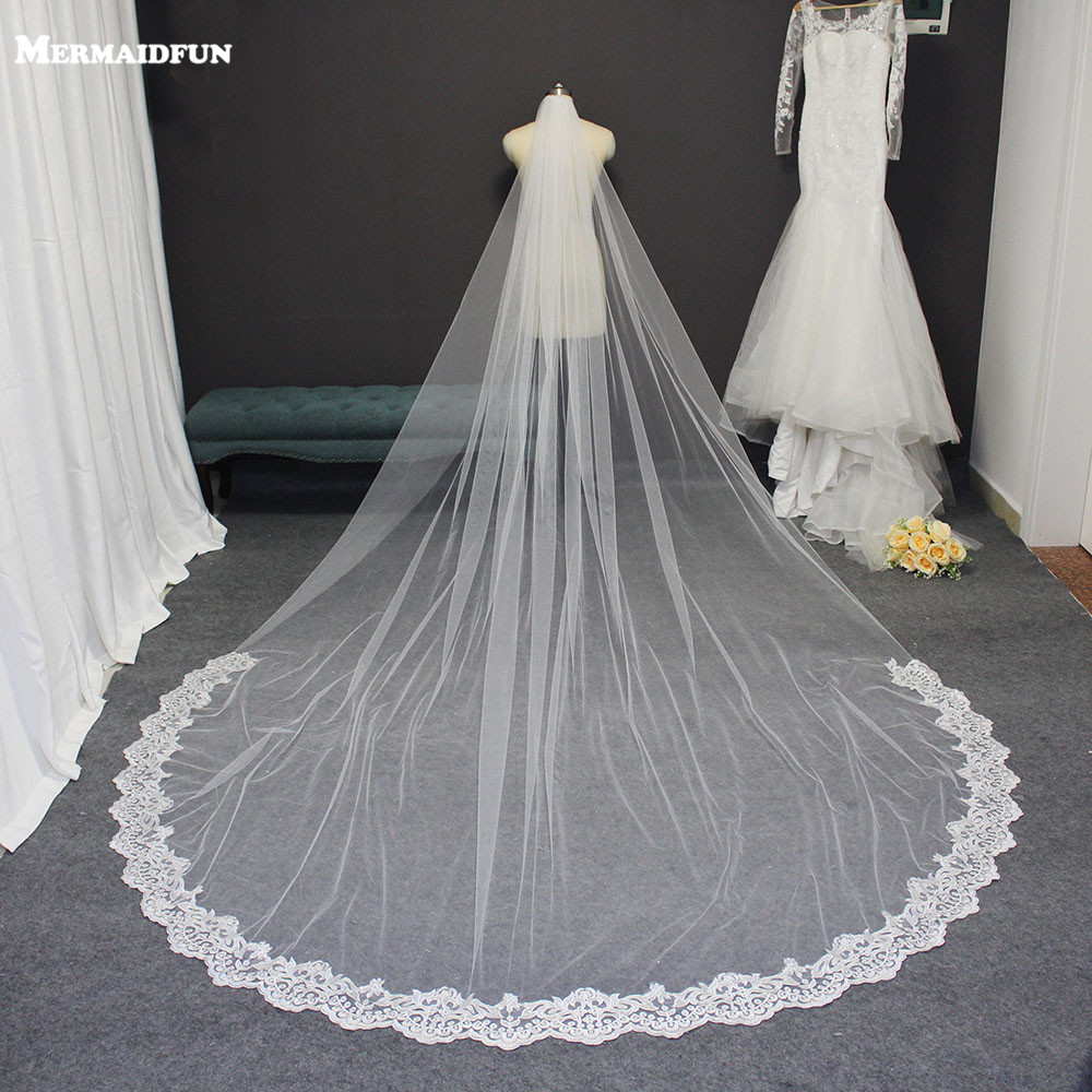 Partial Lace 3M Long Wedding Veil One Layer Elegant Cathedral Bridal Veil With Comb New Welon Bride Veil Voile Mariage