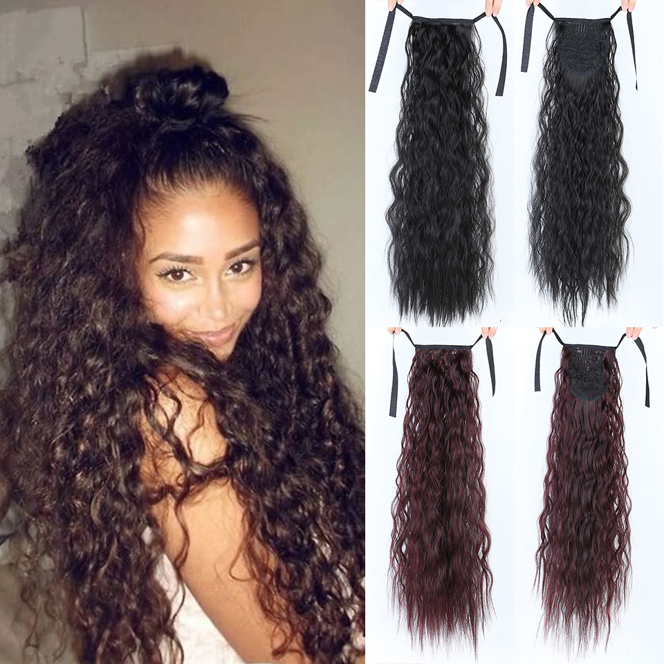 LUPU African Natural Long Wavy Curly Ladies Drawstring Ponytail Hair Extension Corn Handle Hairpin Synthetic Hair
