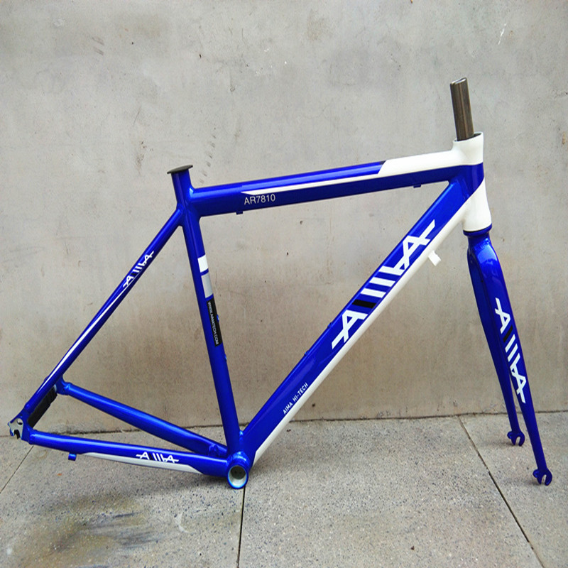 Road Bicycle <font><b>700C</b></font> frame racing cycle aluminum <font><b>alloy</b></font> frame Fixed Gear Bike frame and front <font><b>fork</b></font> 52cm image