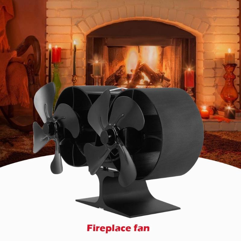 Double Head 8 Blades Fireplace Fan Winter Heat Powered Stove Fan Wood Burner Heat Distribution Eco-friendly Quiet Fan For Home