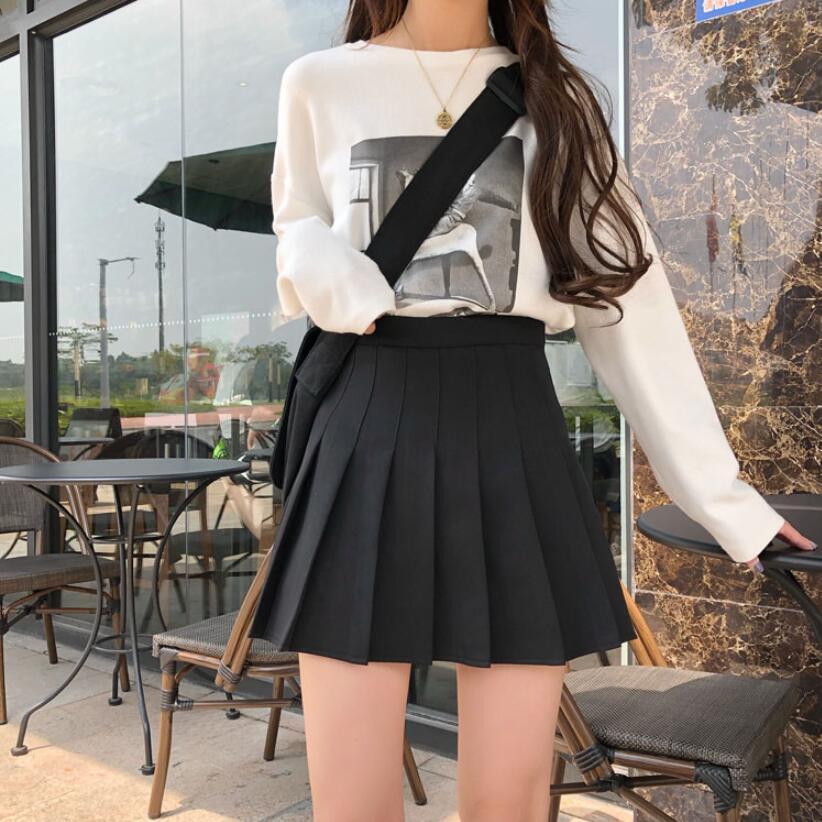 Short Skirts School-Uniforms High Waist A-Line Women Pleated Skirt Sweet Girls Dance Skirt With Safety Pants Mini Skirt