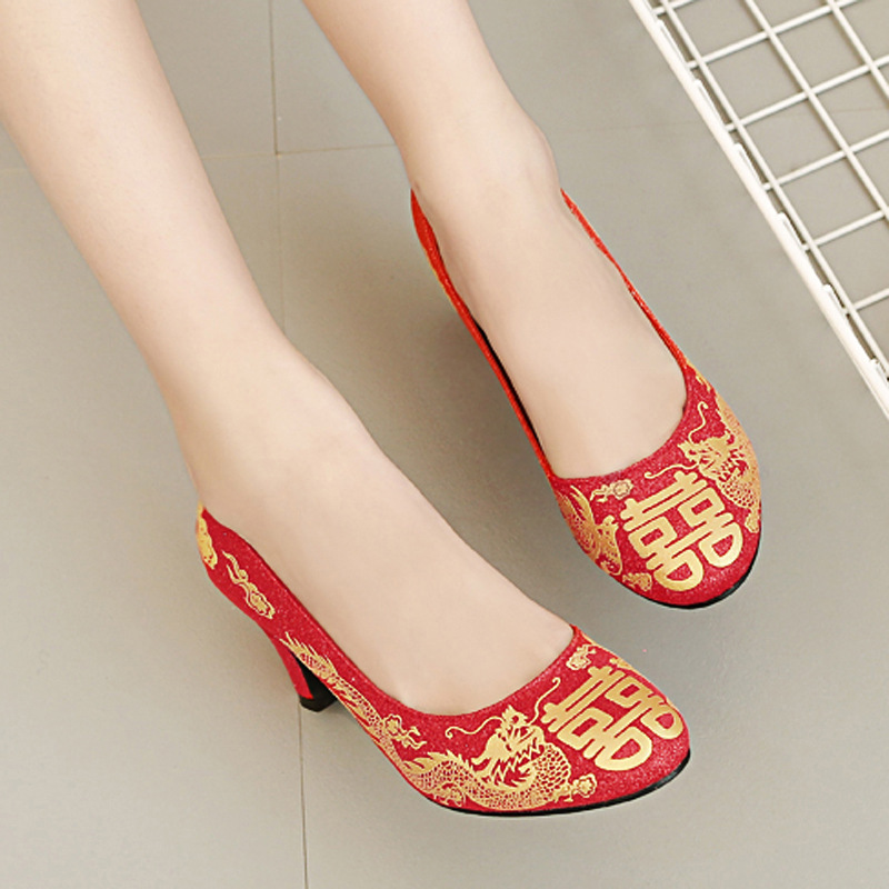 2061-2-Red High Heel Shoes Shallow Mouth Round Shoes Traditional Vintage Bridal Shoes Low Top Fashion WOMEN'S Shoes