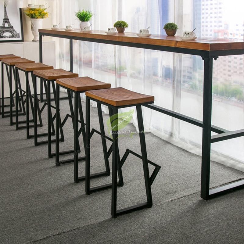 30%Retro Bar Chair Wrought Iron Bar Stool Solid Wood Bar Stool Creative High Stool Leisure Bar Chair Front Coffee Chair