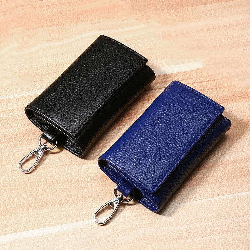 Multifunctional Keychain Wallet Genuine Leather Wallet Women Casual Zipper Coin Purse Card Holder Female Short Small Wallets Men