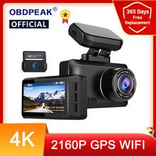 OBDPEAK M63s Dash Cam Dual Lens Ultra HD Real 4K Car DVR Camera WIFI GPS Rear View Night Vision WDR Video Recorder 24H Parking