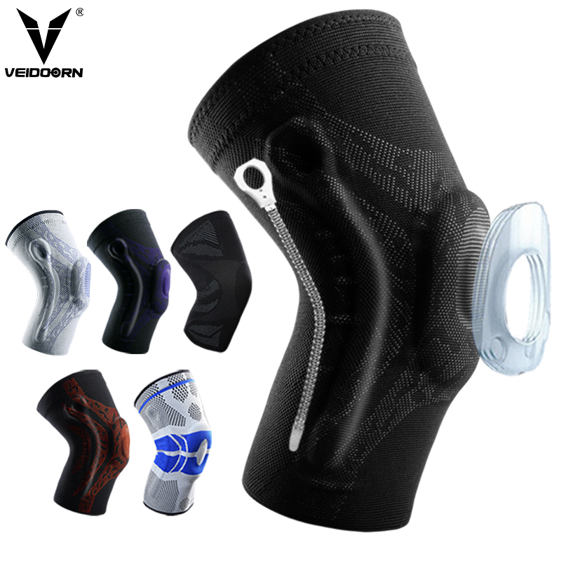 Veidoorn 1pcs Compression Knee Support Sleeve Protector Elastic Kneepad Brace Springs Gym Sports Basketball Volleyball Running