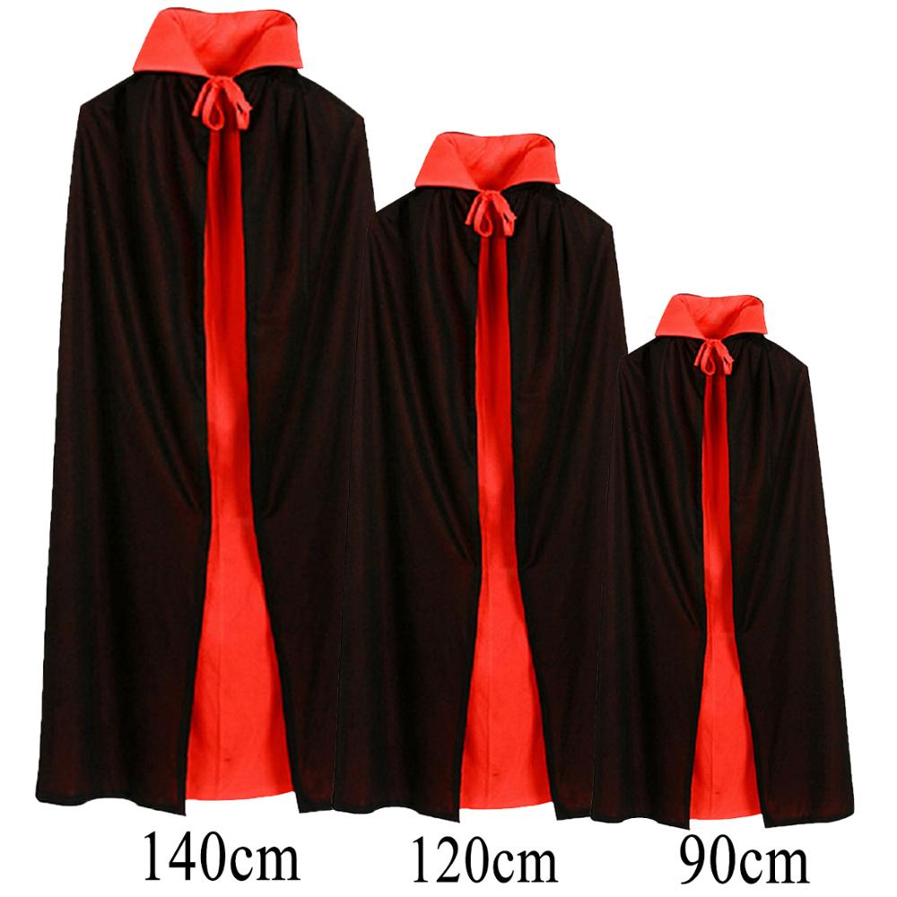 Besegad 140/120/90cm Black Red Reversible Vampire Dracula Cloak Adults Kids Halloween Stand-up Collar Devil Witch Cape Costume