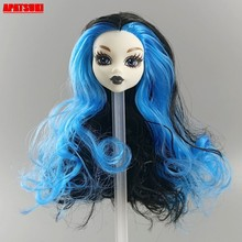 1 Pcs Blauwe Golvende Krullen Pruik Haar Make Up Pop Hoofd Voor Monster High Doll Heads Voor Monster Pop Heads poppenhuis Accessoires Diy Speelgoed(China)