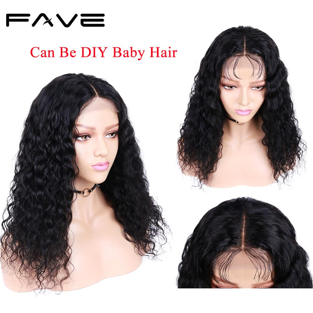 """FAVE Human Hair Lace Front Wigs 4x4 Closure Water Wave Wig Glueless Brazilian Remy Wig 8-24"""" 150% Density For Black Women"""