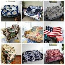 Vintage multi-función manta doble cara algodón tejido tapiz de pared sofá toalla cama cubierta felts alfombra Casa de Campo Decoración