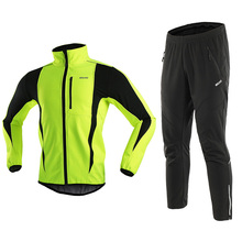 Pants Bike-Jacket-Set Cycling-Clothing ARSUXEO Fleece Waterproof Winter Warm Men Long-Sleeve