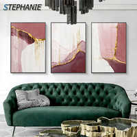 Abstract Golden Pink Canvas Painting Nordic Watercolor Poster Print Modern Gold Wall Pictures for Living Room Girl Pink Wall Art