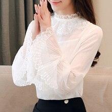 Korean Fashion Chiffon Women Blouses Lace Flare Sleeve White Women Shirts Plus Size XXL Blusas Femininas Elegante Ladies Tops цена