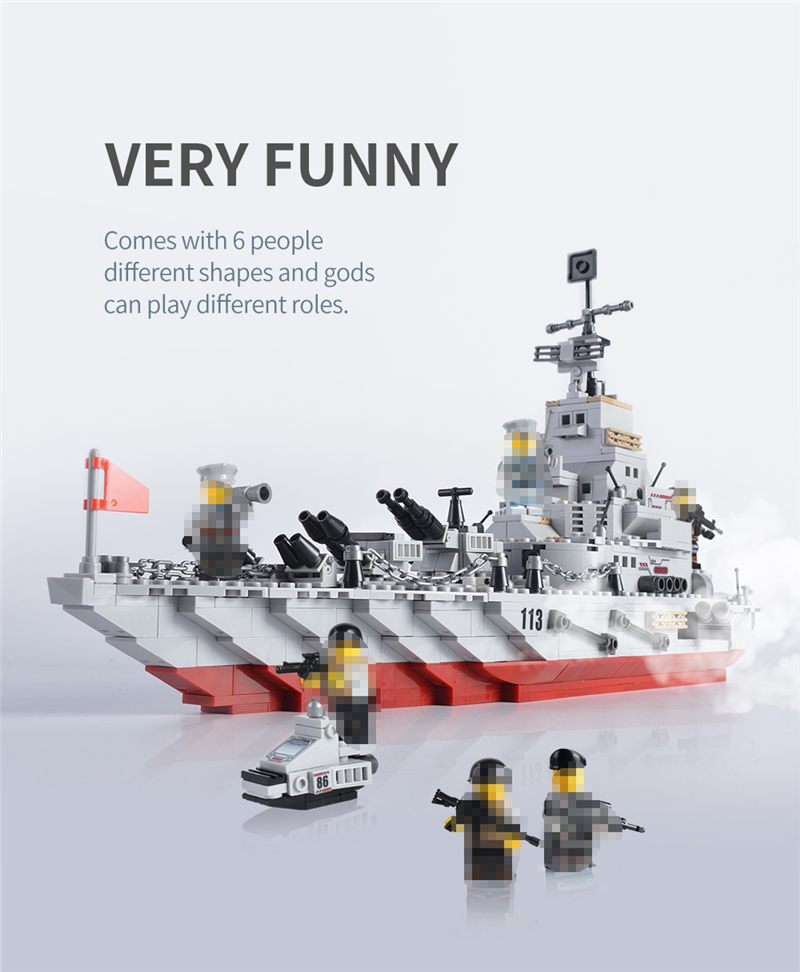 1000+ PCS Military Warship Navy Aircraft Army Figures Building Blocks LegoINGlys Army Warship Construction Bricks Children Toys (3)