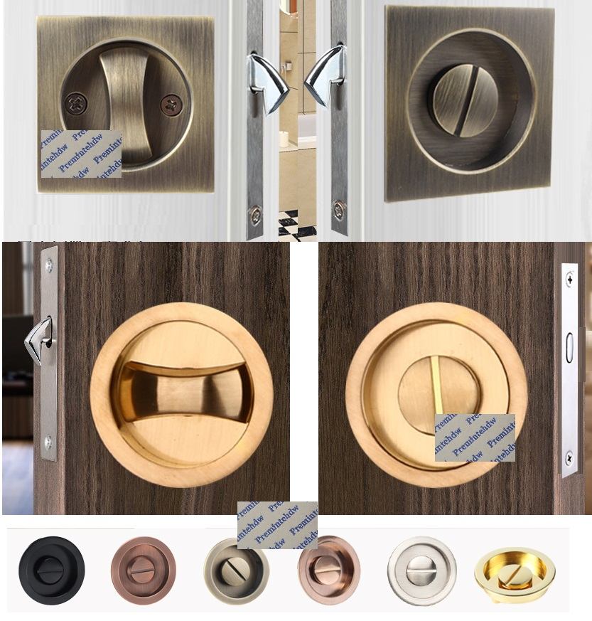 Keyless Bed Bathroom Door Mortise Lock Flush Recessed Finger Pull Thumbturn Square Round Pocket Sliding Door Hooking Bolt