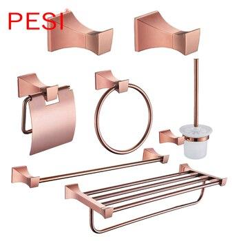 цена на Brass Bathroom Hardware Set Rose Gold Robe Hook Towel Rail Rack Bar Shelf Paper Holder Toothbrush Holder Bathroom Accessories.