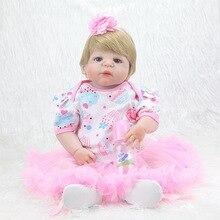 цена 55CM Reborn Baby Dolls Toys For Girls Baby Reborn Dolls Full Body Silicone Bath Toy Birthday Present онлайн в 2017 году