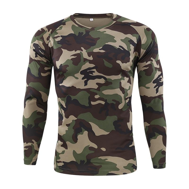 Футболка мужская быстросохнущая Военная камуфляжная футболка с длинным рукавом Мужская дышащая футболка для фитнеса Топы тактическая Боевая камуфляжная армейская футболка - 3