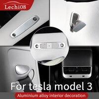 Aluminiowe wykończenie wnętrza dla Tesla model 3 akcesoria/akcesoria samochodowe model 3 tesla trzy tesla model 3 węgiel/akcesoria w Naklejki samochodowe od Samochody i motocykle na