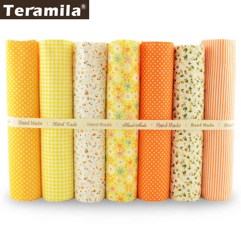 Teramila 7pcs/lot Multiple Color Cotton Fabric Floral and Dots Design for Home Textile Quilting Meter Desk Decoration Patchwork