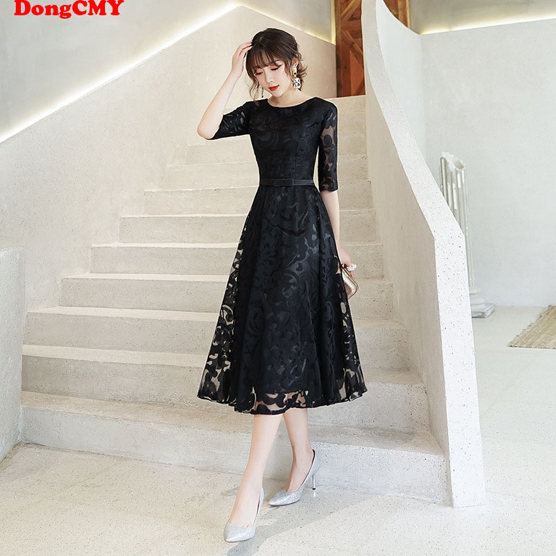 DongCMY New Short Little Black Dresses For Formal Occasion Plus Size Elegant Vestido Prom Dress
