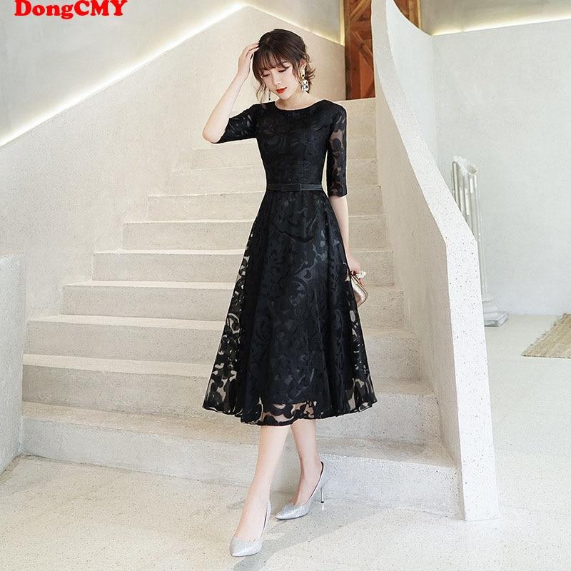 DongCMY New Short Little Black Dresses For Formal Occasion Plus Size Elegant Vestido Prom Dress