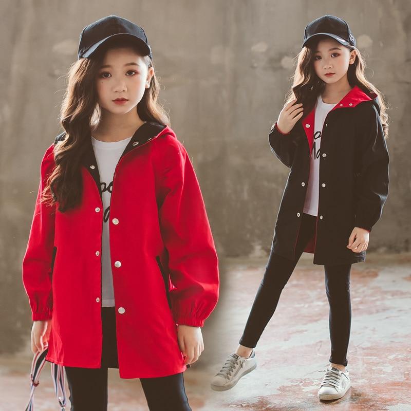 Весенняя Детская куртка, Повседневная ветровка для девочек, детская верхняя одежда, ветрозащитная куртка с капюшоном для девочек 5, 8, 10, 12, 13 лет Куртки и пальто    АлиЭкспресс