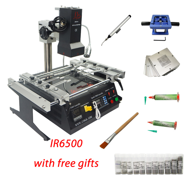 <font><b>IR6500</b></font> <font><b>BGA</b></font> Rework Station kits 2 zones infrared 2300W Repair Soldering Station for Motherboards Mobile Phone Chip PCB Machine image